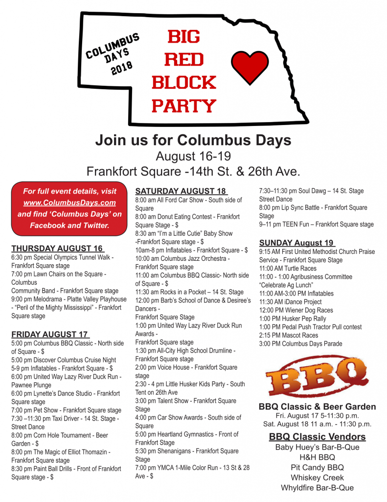2018 Columbus Days Schedule(1) OFFICIAL-1 - Columbus Area Chamber of